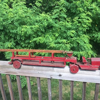 Antique Wood/Tin Fire Ladder Truck Toy