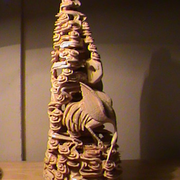 Beautiful Chinese Ivory Carving Mountain/Clouds? and Crane Signed - Asian