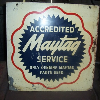 Vintage Maytag Accredited Service painted metal sign--Newton Iowa - Signs