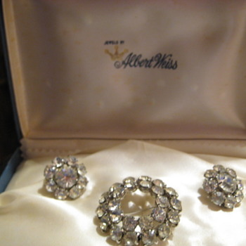 Albert Weiss Brooch and Earring Set in Original Box - Costume Jewelry