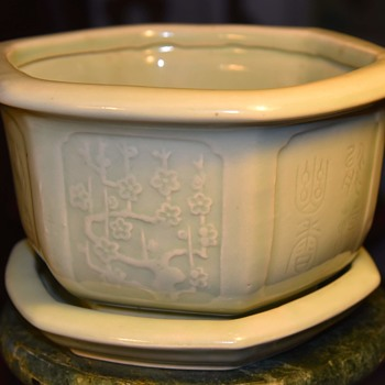 Celadon Flower Pot - Asian