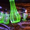 Teeny Tiny Miniature Green Depression Glass Salt Shaker...