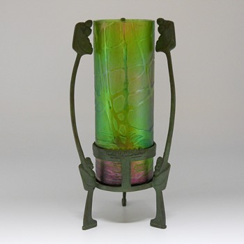 "Glass Vase Kralik Green Iridescent with Bronze Art Nouveau Holder""Circa 1910-20 - Art Glass"