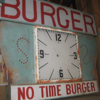 Vintage 1950's NO TIME BURGER Antique Plexi-Back Lit Sign / clock - Signs