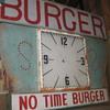 Vintage 1950's NO TIME BURGER Antique Plexi-Back Lit Sign / clock