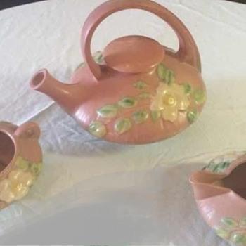 Roseville white rose tea set