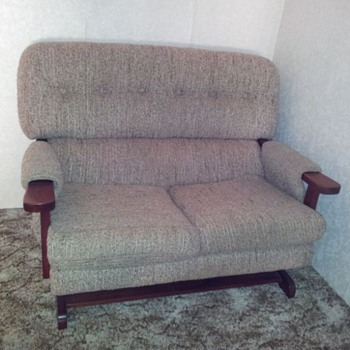 Inherited set of two spring platform rocking lounge chairs and one two-seater