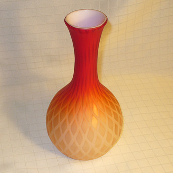 Orange Diamond quilted bottle form vase. - Art Glass