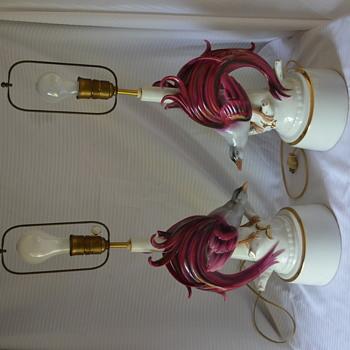 Large Porcelain Exotic Bird Figurine Lamp Marked