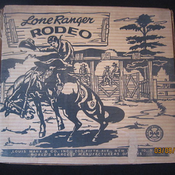 1952 Louis Marx Lone Ranger Rodeo Complete Playset No. 3696 With Original Box Plus Extras  - Toys