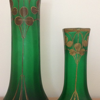 """a big and a smaller one """"Fontainebleau"""" vase of Legras"""