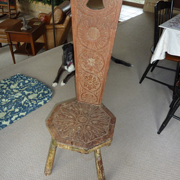 Handmade stool with back and carved sunflowers