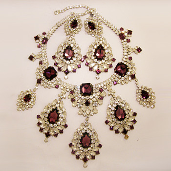 Vintage Kenneth Jay Lane Massive Rhinestone Necklace and Earrings Set - Costume Jewelry
