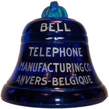 Bell Telephone Manufacturing Co. Glass Bell Paperweight - Telephones