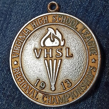 1913 Virginia High School league championship metal - Medals Pins and Badges