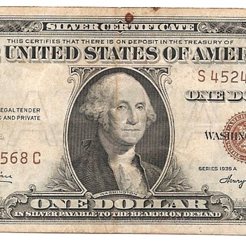A 1935A One Dollar Bill Stamped Hawaii - Military and Wartime