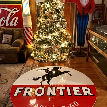 Six Foot Round Frontier Gasoline Porcelain Sign - Advertising