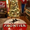 Six Foot Round Frontier Gasoline Porcelain Sign