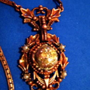 Vintage Art Deco lavaliere Confetti Cabochan Necklace / 1930's Czech Lavaliere Necklace with Confetti Cabochan - Costume Jewelry