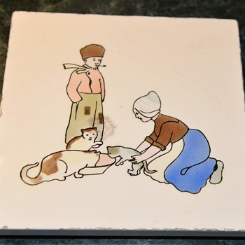 Tile Trivet with a Dutch Couple feeding their Cats - Pottery