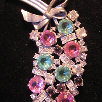 Eisenberg Original Colorful Red and Green Brooch - Costume Jewelry