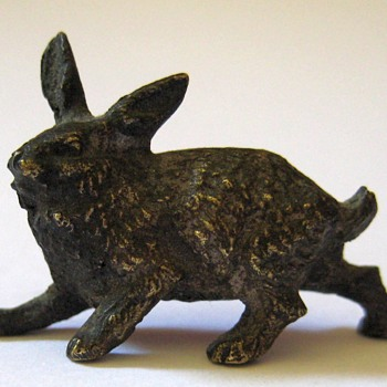 Tiny Vintage Bronze Rabbit  - Animals