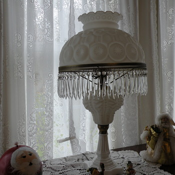 Milk Glass Lamp with Crystal Prisms . - Lamps