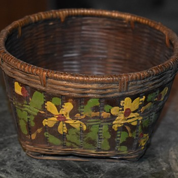Small Basket with Yellow Flowers painted on it - Furniture