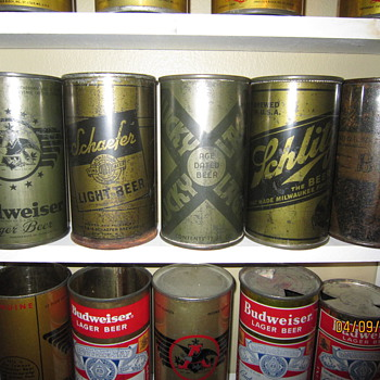 WW2 World War II Olive Drab Beer Cans - Breweriana