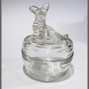 JEANNETTE Covered Powder Dish / Trinket Dish -- SCOTTIE DOG - Glassware