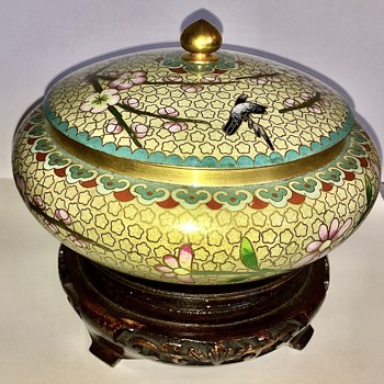 Antique Cloisonne Bowl With Lid And Stand  - Asian