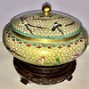 Antique Cloisonne Bowl With Lid And Stand