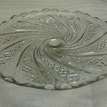 antique pedestal cake platter - Glassware