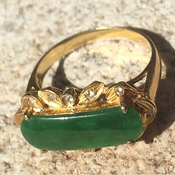 18K gold and jadeit ring - Fine Jewelry