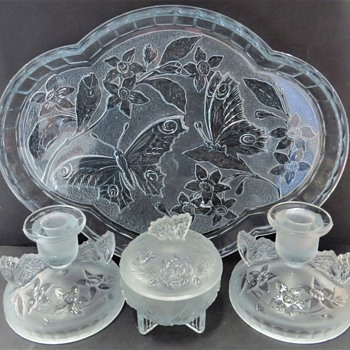Sowerby Glass Dressing Table Set - Butterfly - 2552 - Glassware