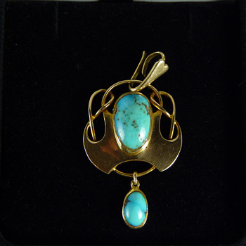 Murrle Bennett 15ct Gold Turquoise Pendant w. Original Enhancer Bale - Fine Jewelry