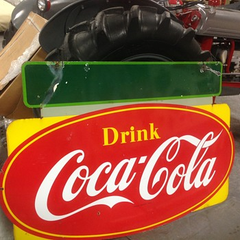 Double Sided Porcelain Coca-Cola Sign - Advertising