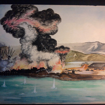 My grandfathers WW2 battle scene painting's that he sent home from the Pacific. - Military and Wartime