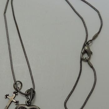 Woman's Necklace - Locket & Cross - Sterling Silver - Fine Jewelry