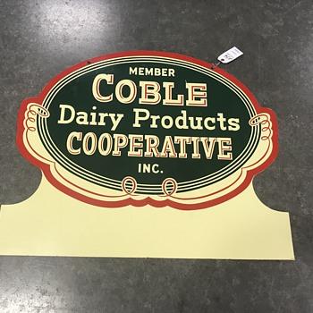 Coble Dariy sign dated 1955  - Advertising