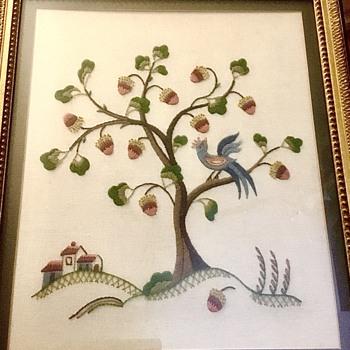 Framed Embroidery Composition of Bird in Tree Folk Art - Folk Art