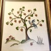 Framed Embroidery Composition of Bird in Tree Folk Art