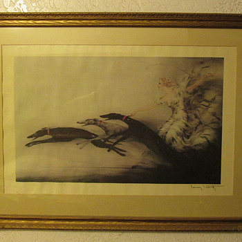 """Art Deco Louis ICart stone lithograph """"Speed"""""""
