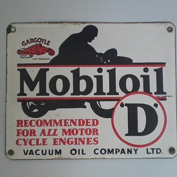 Four Gargoyle Mobiloil Signs! - Petroliana