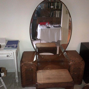 Art deco dresser , bench and mirror. - Furniture
