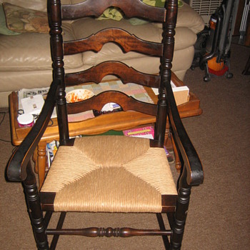 Ladder Back Armchair with fiber rush seat