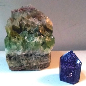 Rocks And Minerals / Healing Crystals /Apache Tri-Color Calcite And An Amethyst Geode Polished Point  - Fine Jewelry