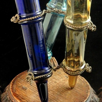 Antique Legras French Nouveau Smokey Topaz Cobalt - Blue Art Glass Trio Vase Set - Art Glass