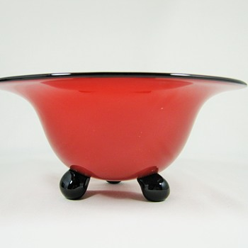 Loetz red tango glass ball footed bowl ca. 1920 - Art Glass