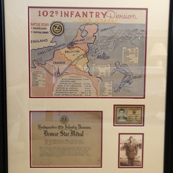 102d Infantry Division - The Ozark Division- Commemorative Map of World War II action. - Military and Wartime